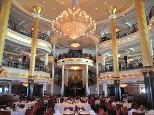 Beautiful three level dining room on the Freedom of the Seas