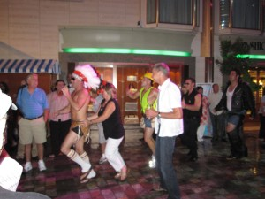 "The ""Village People"" leading the ""Love Train."""